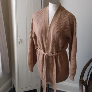 A new day tan belted cardigan S